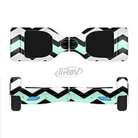 The Teal & Black Wide Chevron Pattern Full-Body Skin Set for the Smart Drifting SuperCharged iiRov HoverBoard