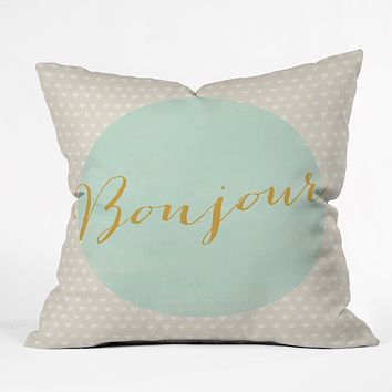 Allyson Johnson French Hello Throw Pillow