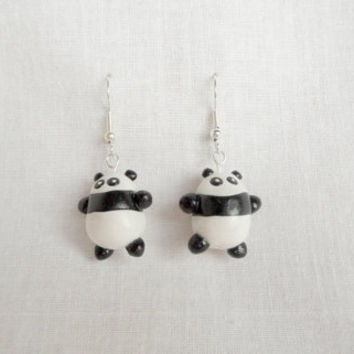 Panda earrings cute animal earrings made from black and white polymer clay