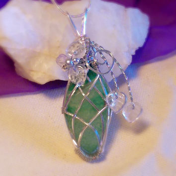 Wire Wrapped Green Whimsy Dragons Vein Agate Silver Pendant Necklace
