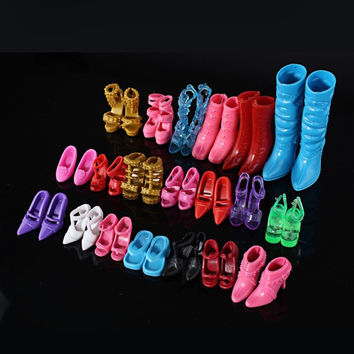 Mix 24pcs 12Pairs Shoes Boots For Decor Barbie Doll Toy Girls Dolls Accessories Play House Party Xmas Gift Random New Fashion