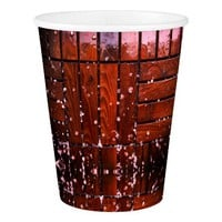 Cool Brown Wooden Ply texture With Wintry Snow Ice Paper Cup