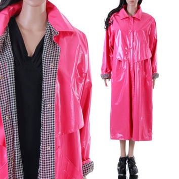 90s Pink PVC Raincoat Black and White Checkered Long Maxi Slicker RARE Vintage Clothing Womens Size XL xxl