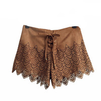Lita Cross Tie Up Frilly Lace Shorts