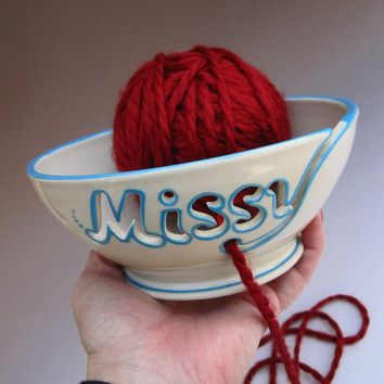 Personalized Yarn Bowl for the Knitter in your Life by MaidOfClay