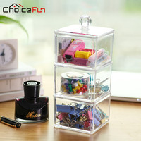 CHOICE FUN Hot Selling 3 Tiers Square Clear Acrylic Storage Container Desk Office Accessories High Quality Document Box SF-1183