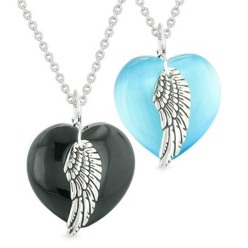 Amulets Angel Wing Hearts Love Couples or Best Friends Agate Blue Simulated Cats Eye Necklaces