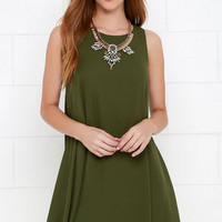 Better Believe It Olive Green Shift Dress