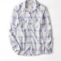 AEO PLAID WESTERN BUTTON DOWN SHIRT