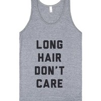 Long Hair Don't Care-Unisex Athletic Grey Tank