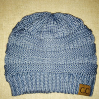 Winter Wear, Beanie, Silvery Blue Knit Beanie. Gorgeous and Fab Fit.