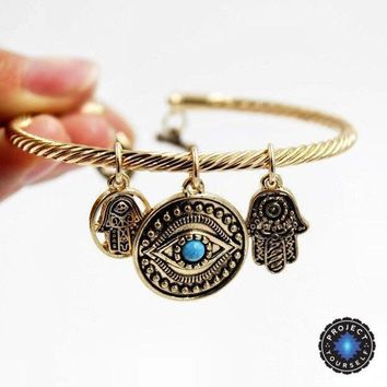 Charming Hand of Fatima Blue Evil Eye Bracelet