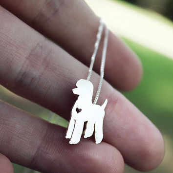 Standard Poodle necklace, sterling silver hand cut pendant, with heart, tiny dog breed jewelry
