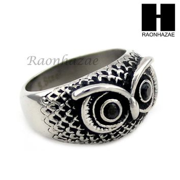 MEN STAINLESS STEEL HIP HOP ANTIQUE SILVER TONE OWL w/ ONYX RING 8-12 SR027CL