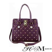 Quilted Tote with Rhinestones and Lock in Purple - HaileyMason, LLC Store
