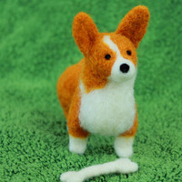 Little Felt Corgi with Bone
