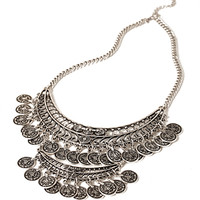 FOREVER 21 Layered Medallion Statement Necklace Burn.S One