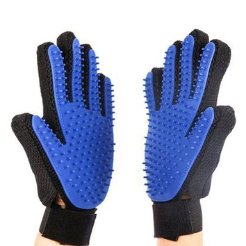 Cat pet Finger True Touch Deshedding Brush Glove For Cat Dog Efficient Massage Grooming and For Pet Washing Gloves Goods hair