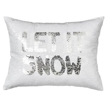 Reversible Sequin Let It Snow Let Me Sleep Pillow