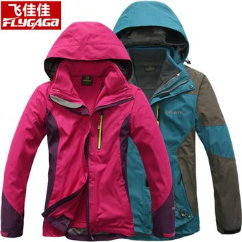 FLYGAGa Outdoor Waterproof Jacket Men 3in1 Windbreaker Removable Fleece Liner Hiking Jacket Camping Women Coat casaco masculino
