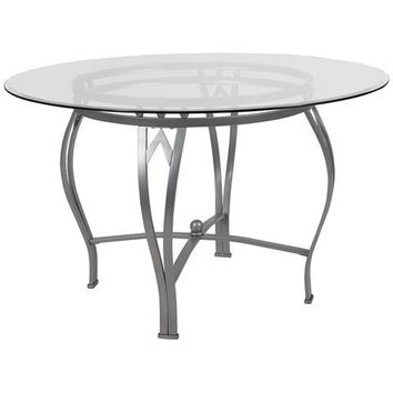 Syracuse 48'' Round Glass Dining Table with Silver Metal Frame