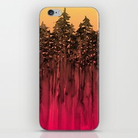 FOREST THROUGH THE TREES 12 Hot Pink Magenta Orange Black Landscape Ombre Abstract Painting Outdoors iPhone & iPod Skin by EbiEmporium