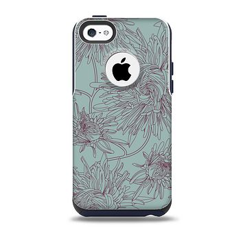 The Teal Aster Flower Lined Skin for the iPhone 5c OtterBox Commuter Case