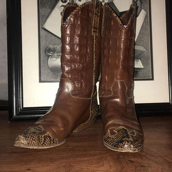 VERO CUOIO Italian Vtg Designer Alligator Skin Leather Mid-calf Boots