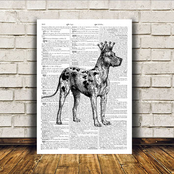Great dane print Modern decor Dog poster Animal art RTA121