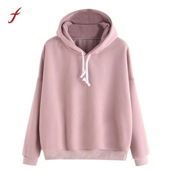 Spring Sweatshirts For Women 2018 Pink women's Gown With A Hood Hoodies Ladies Solid Long Sleeve Casual Hooded Harajuku Clothes