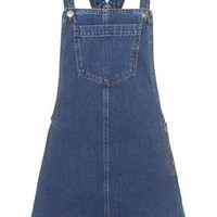 MOTO Denim Pocket Pinafore Dress - Mid Stone