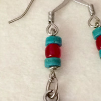 Southwest Earrings Turquoise Red Earrings Turquoise Dangle Earrings Southwest Statement Earrings Boho Dangle Earrings Turquoise Boho Earring