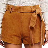 Punk Style Belted Suede Shorts