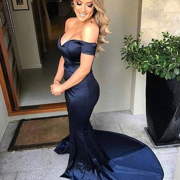 Mermaid Navy Blue Off The Shoulder Prom Dress, Satin Formal Gown With Side Slit