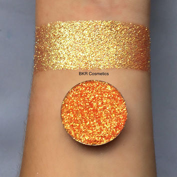 Iridescent sunrise pressed glitter eyeshadow, 26mm magnetic pan or jar, cosmetic grade glitter, yellow, pink, orange color shifting shade