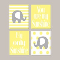 Yellow Gray Elephant Nursery WALL ART Decor Gender Neutral Baby Girl Boy Elephant You Are My Sunshine Nursery Wall Set of 4 Prints Or Canvas