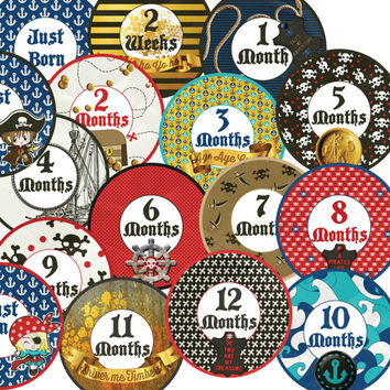 14 Arrgh Pirate Nautical Sailor Baby Boy or Girl Monthly Milestone Onesuit Stickers Newborn Shower Gift