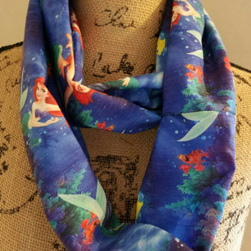 disney - princess - ariel - little - mermaid  - flounder - sebastian - skinny -  infinity  - scarf