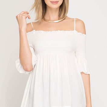 Half Sleeve Off the Shoulder Top with Smocking Detail - Off White