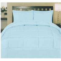 Cozy Home Down Alternative 5 Piece Embossed Comforter Set - Light Blue (Queen)
