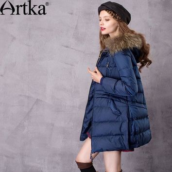 Artka Women's Winter New A-Line Down Coat Vintage Raccoon Fur Collar Hooded Long Sleeve Down Coat With Pockets ZK11669D