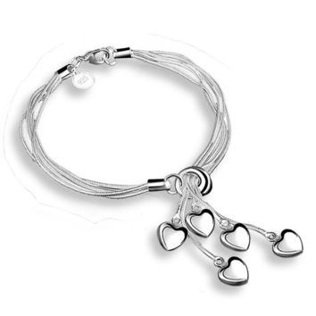 Multilayer Bracelets Silver Plated Heart Charm Bracelets Women Girls Handmade Gift Jewelry Bracelet