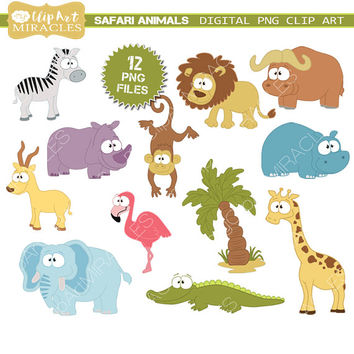 Safari clipart, Jungle safari clip art, Safari animals clipart grapchics, Jungle party decoration, Safari scrapbook elements