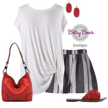 (pre-order) Set 319: Charcoal Striped Shorts w/Top (shoes & bag sold separately)