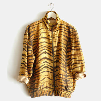 Vintage animal print tiger silk slouchy oversized bomber jacket S 1990s