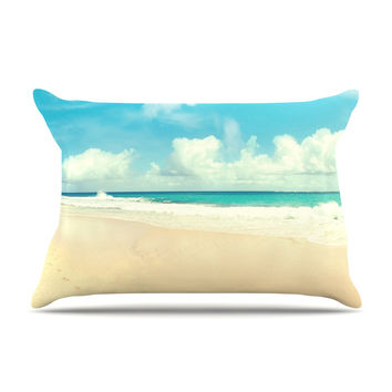 "Sylvia Cook ""Beach Time"" Brown Blue Pillow Case"