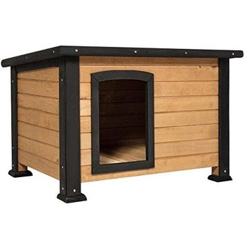 Wooden Log Cabin Dog House w/Opening Roof for Small Dogs, Outdoor Kennel, Pet Shelter -Brown : Pet Supplies