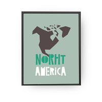 North America Map, Learning Continents, Children Learning, Nursery Art, Education Poster, Typography Poster, Map Art, Kids Print, Kids Decor