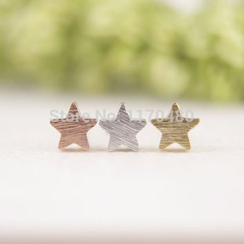 2017 New Fashion Tiny Cute Gold Plated Little Five Star Studs Earrings for Women Party Gifts ED025