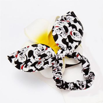 Girl headwear Mickey bow Hair Holders Lady Rubber ring Gum Headbands Rope Scrunchy Elastic Hair Bands Accessories for Women Head
